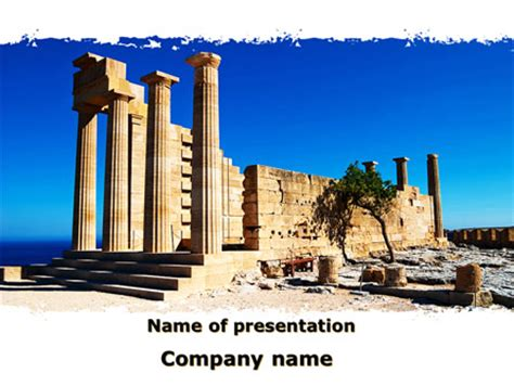 greek powerpoint themes ruins of ancient greek temple presentation template for
