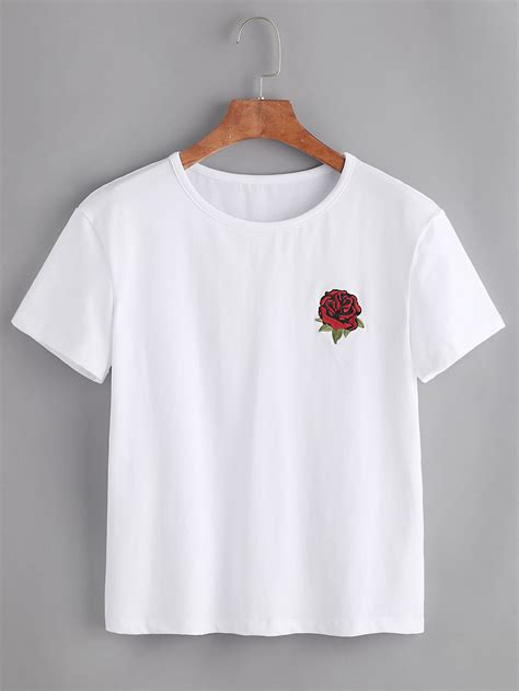 design embroidery shirts rose embroidered tshirt shein sheinside