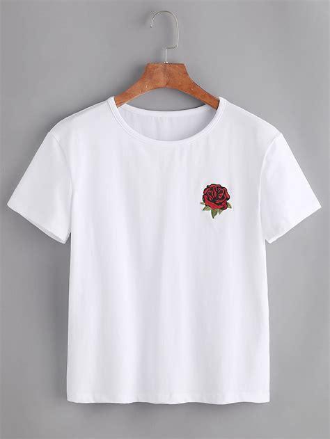Outshoulder Shirt embroidered tshirt shein sheinside
