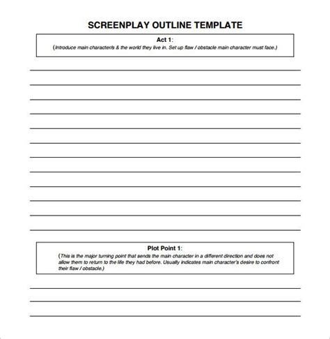 screenplay outline template screenplay outline template 8 free word excel pdf