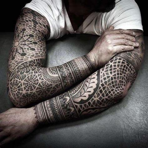 geometric tattoos for guys 50 geometric sleeve designs for complex ink ideas