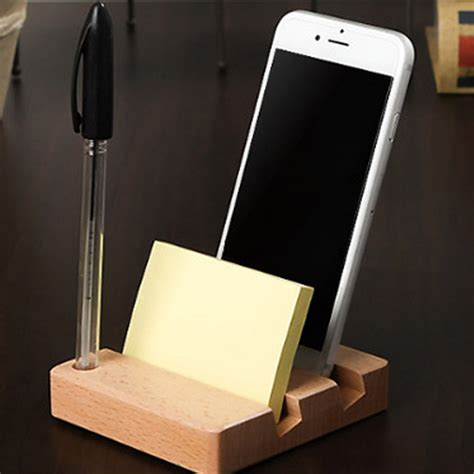 Wooden Smartphone Holder 1 universal desk wood pen mobile smart phone holder memo pad