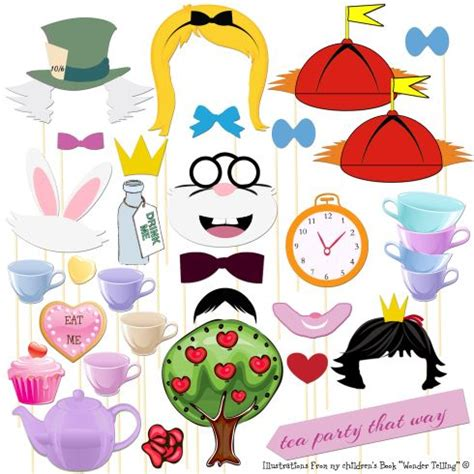 free printable tea party photo booth props photo booth props 30 piece alice in wonderland photo