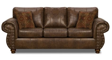 Brown Smokey Leather Like Microfiber Classic Sofa