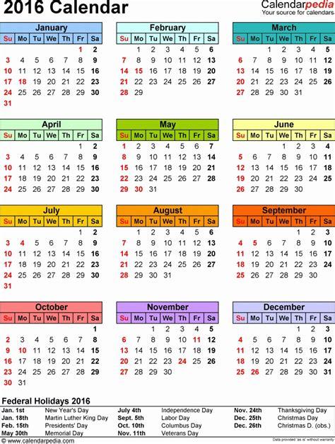 2016 Biweekly Payroll Calendar Template
