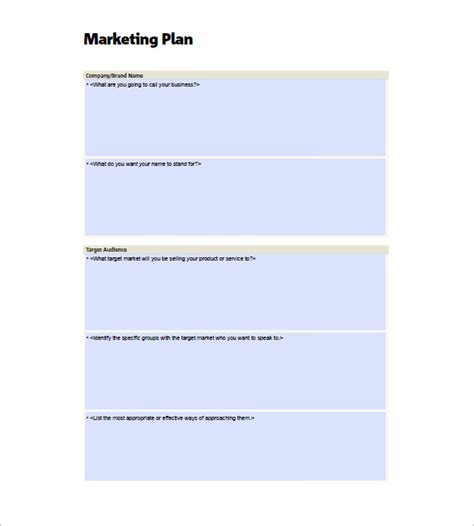 marketing plan template for small business small business marketing plan template 10 free word