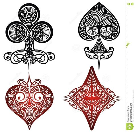 a set of ornate playing card tattoo set stock vector