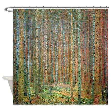 rainforest shower curtain gustav klimt pine forest shower curtain by iloveyou1