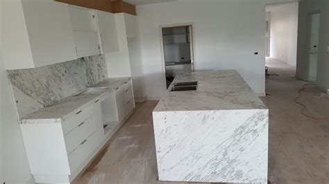 Carrara Marble Kitchen And Island Bench Installation