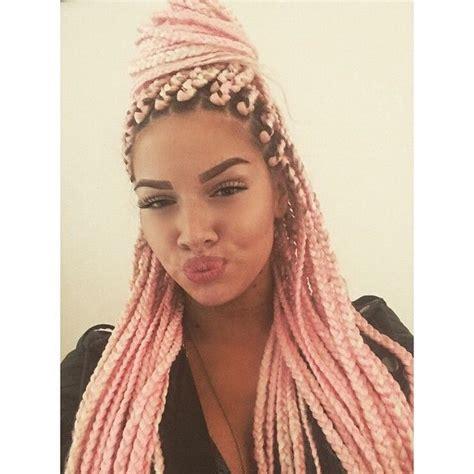 pink black n blonda braids pink box braids hair styles braids twists pinterest