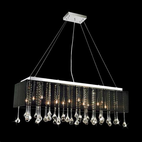 Modern Rectangular Chandelier 729 00 40 Quot Gocce Modern String Shade Rectangular Chandelier Chrome With Black White