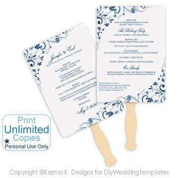 fan program template diy wedding fan program template instantly