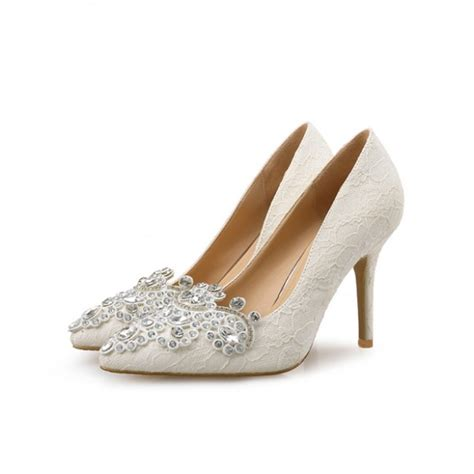 Ivory Pumps Wedding by Ivory Bridal Shoes Lace Heels Pointy Toe Rhinestone Pumps