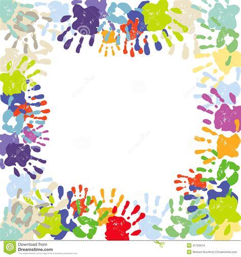 handprint border stock vector illustration  notepaper