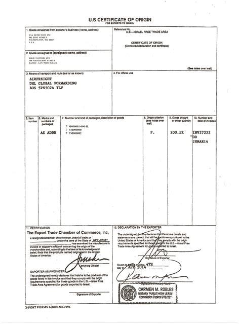 certificate of origin template usa certificate of origin template usa fee schedule template
