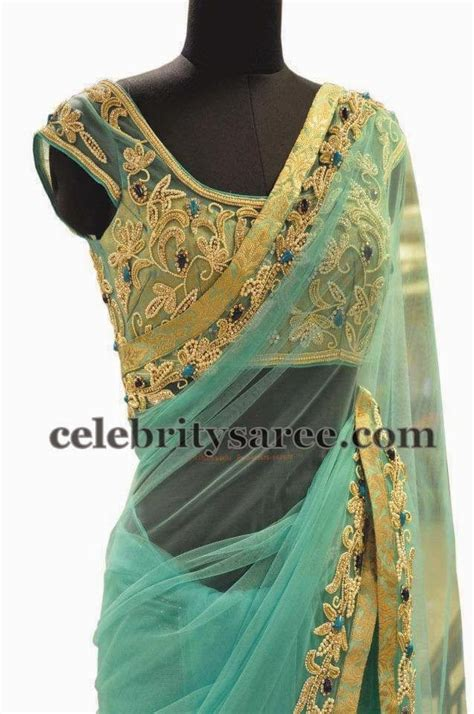 Blouse Designs For Heavy Sarees by Net Blouse With Zardosi Work Saree Blouse Patterns