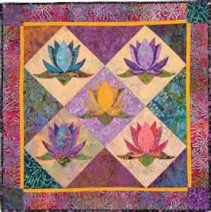 Lotus Quilt Pattern Quilt Fabric Virginia Robertson Pattern Applique