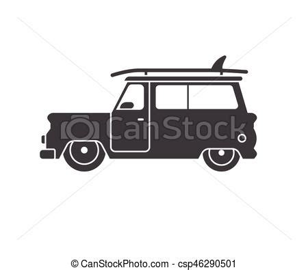 surf car clipart surfing car outline label surfing car icon in outline