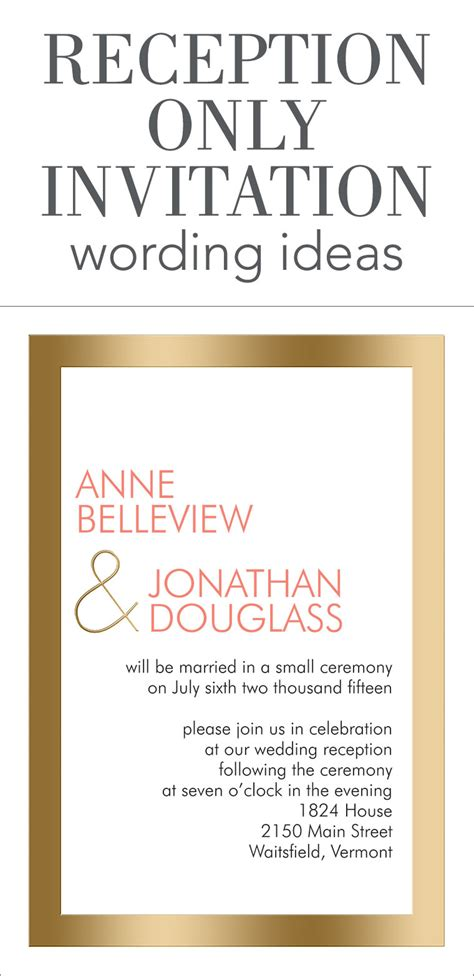 Wedding Announcement Reception Wording by Reception Only Invitation Wording Invitations By