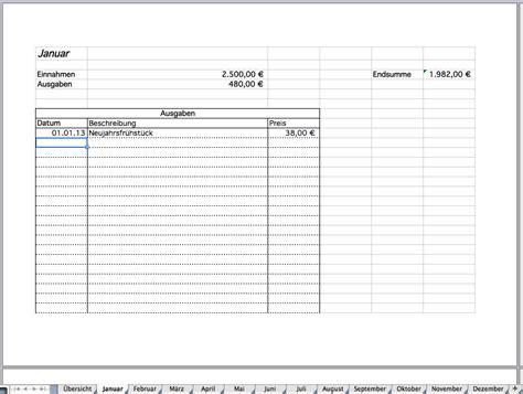 Adressaufkleber Drucken Openoffice by Beispiel Eintragung F 252 R Januar Haushaltsbuch