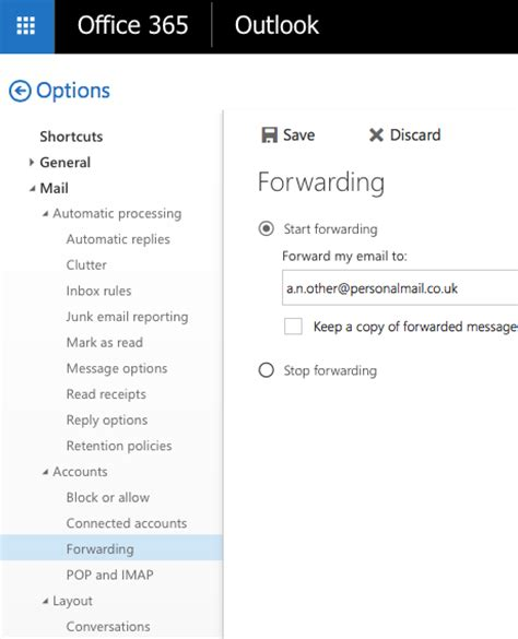 Office 365 Outlook Redirect Email 2727 Setting Up And Cancelling Email Forwarding On The