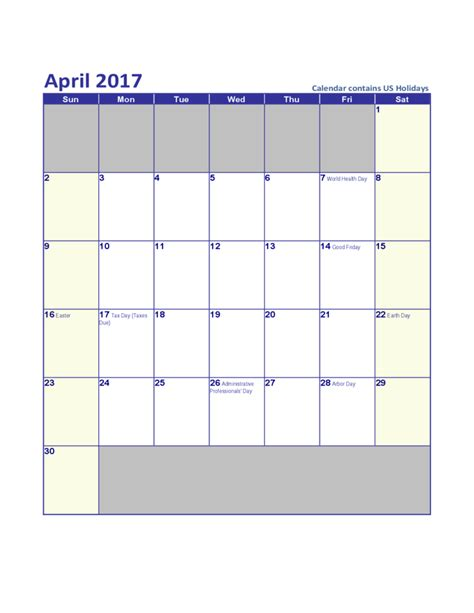 Calendars With Us Holidays April 2017 Us Calendar With Holidays Free