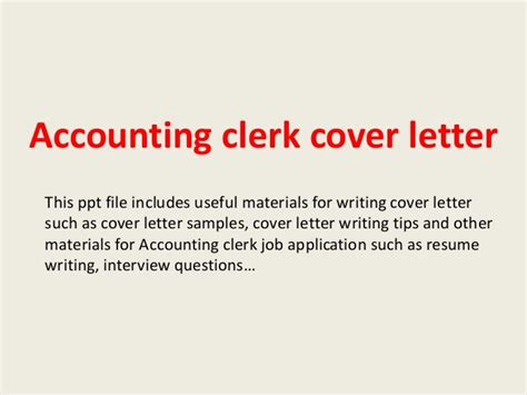 Cover Letter Template Accounting Clerk Accounting Clerk Cover Letter
