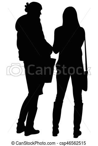 Silhouette of two women talking. Silhouette of two stoyaschmh near and conversing women - vector.