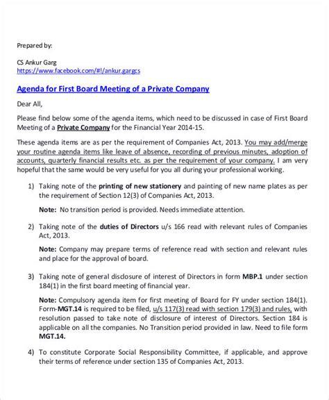 meeting agenda sle 30 exles in word pdf