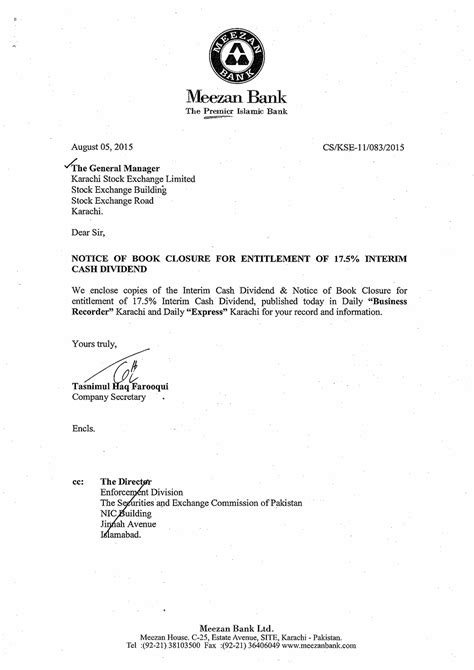 Bank Notification Letter To Customer notice of book closure for entitlement of 17 5 interim