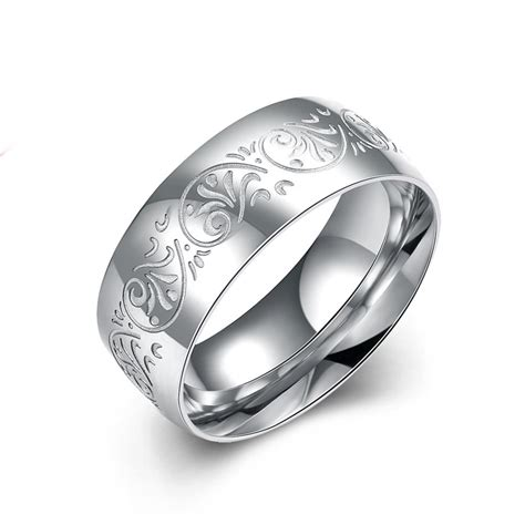 silver 316 stainless steel carved simple men finger ring