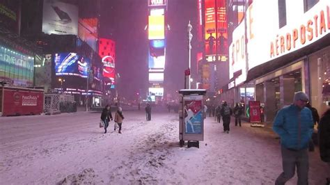 Winter Snow Storm Hercules in Times Square, NYC January