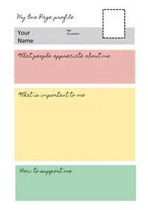 template for personal profile one page profile templates helen sanderson associates