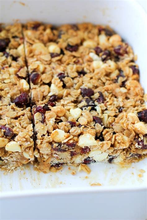 Granola Bar Cranberries Snack Bar Healthy Snack Cranberry White Chocolate Macadamia Nut Granola Bars Recipe