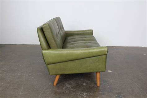 green leather loveseat mid century modern green leather loveseat by skippers