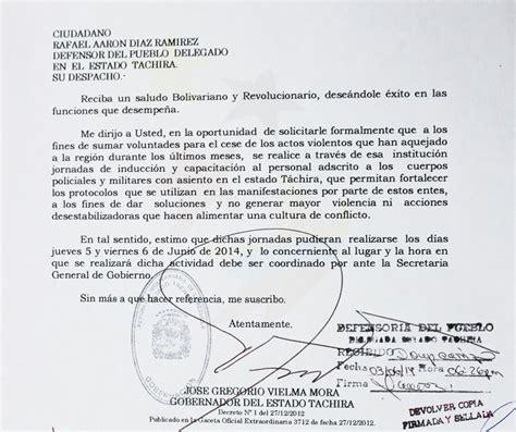 carta formal al gobernador carta gobernador al defensor pueblo solicitando inducci 243 n a cuerpos policiales sobre