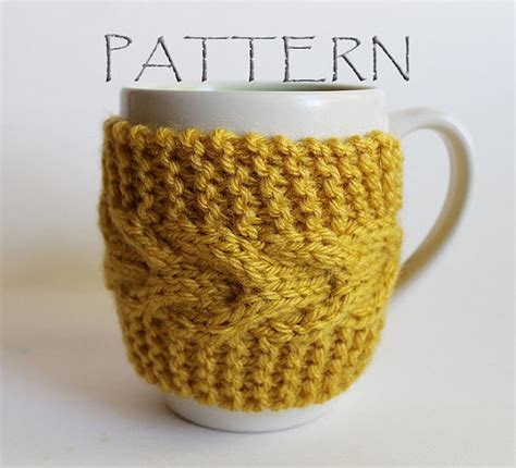 knitting pattern for cup cozy pattern knitted cup cozy by goodweather on etsy