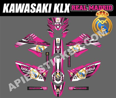 Sticker Decal Striping Dekal Stiker Klx 149 Glossy striping motor kawasaki klx 150 real madrid apien sticker