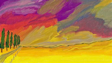 sketsa gambar pemandangan alam bagus  berwarna