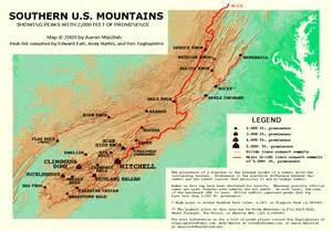 map of eastern us mountain ranges peaklist prominence lists and maps