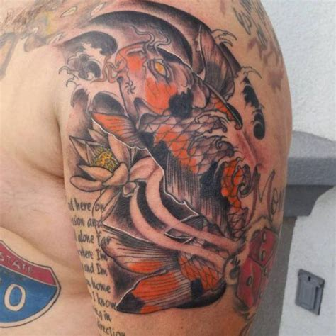 ascending koi tattoo rates 125 koi fish tattoos with meaning ranked by popularity