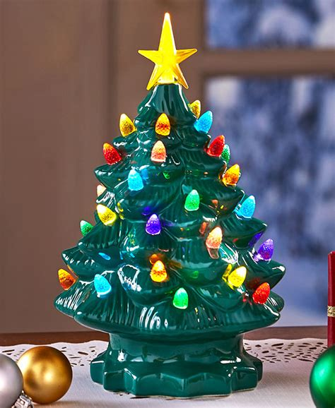 tabletop christmas tree with led lights retro tabletop lighted trees green or white with multi lights new ebay