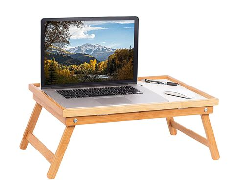 adjustable wood bed tray desk serving table folding legs bamboo ebay