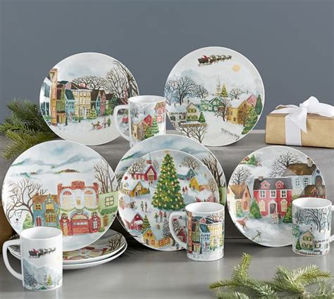 Winter Village 12 Piece Dinnerware Set   Pottery Barn
