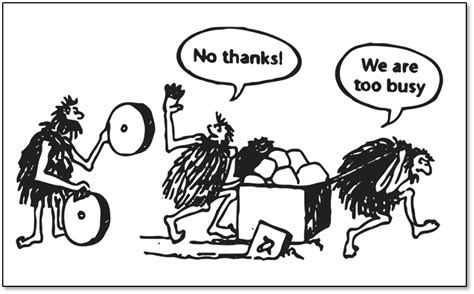funny cartoons caveman wheel when is the right time to innovate your business