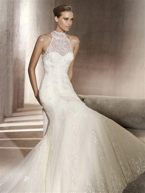 High Neckline Wedding Dresses – High neck lace mermaid wedding dress   OneWed.com
