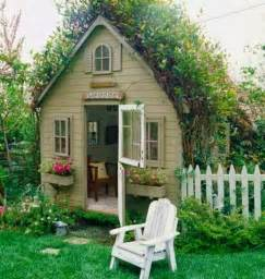cottage backyard garden potting sheds