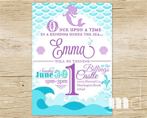 printable birthday invitations little mermaid mermaid birthday party invitation little mermaid by