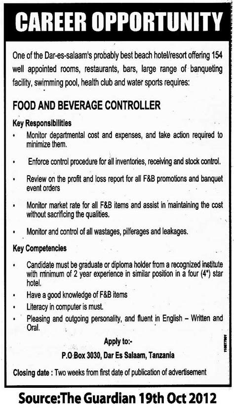 Food And Beverage Director Description by Food And Beverage Controller Tayoa Employment Portal