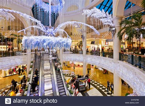 meadowhall shopping centre interior with christmas